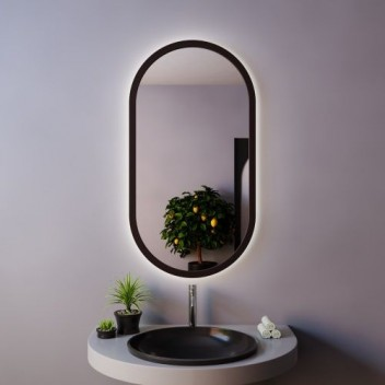 Зеркало с подсветкой LOFT BLACK  (90 см х 50 см)
