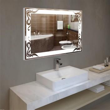 Зеркало с подсветкой в алюминиевой  рамке  PA 3 (60 см х 80 см)