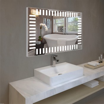 Зеркало с подсветкой в алюминиевой  рамке  PA 6 (60см х 80см)