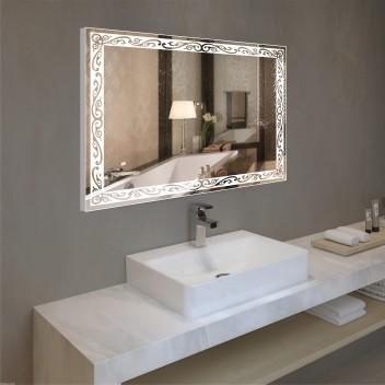 Зеркало с подсветкой в алюминиевой  рамке  PA 2 (60см х 80см)
