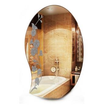 Зеркало в ванную с узором MO 28 (80 см х 50 см)