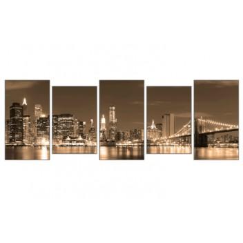 """Модульная картина """"Бруклинский мост сепия"""""""