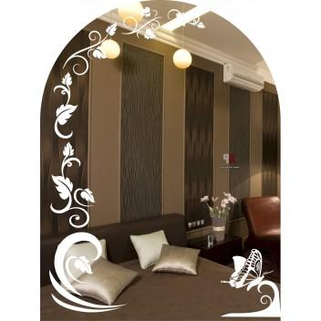 Зеркало с матовым рисунком  MO 43 (80 см х 60 см)